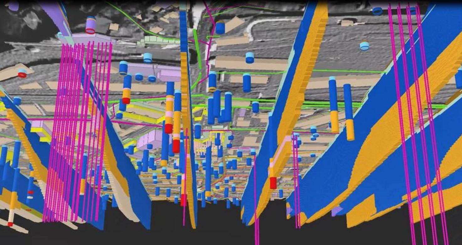 3D-Modell: Bohrungen und Profilschnitte im Untergrund (swisstopo 2020)