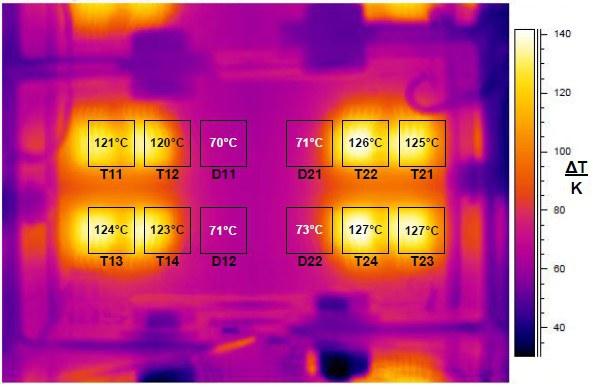 Temperaturverteilung in einem IGBT-Modul im Betrieb (Infrarot-Aufnahme)