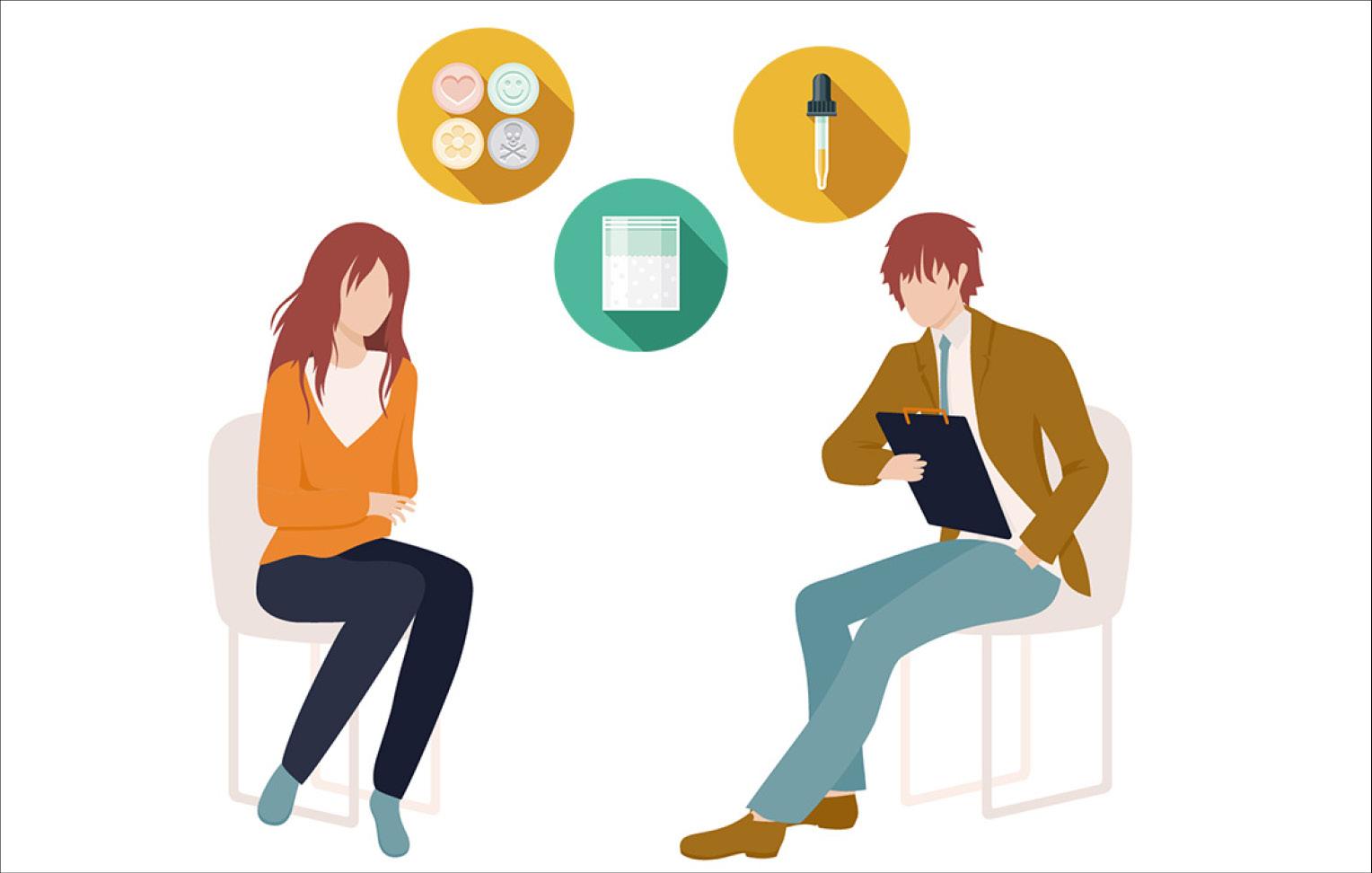 Grafik von einem Berater und einer Patientin, die sich gegenüber sitzen und über Drug-Checking sprechen