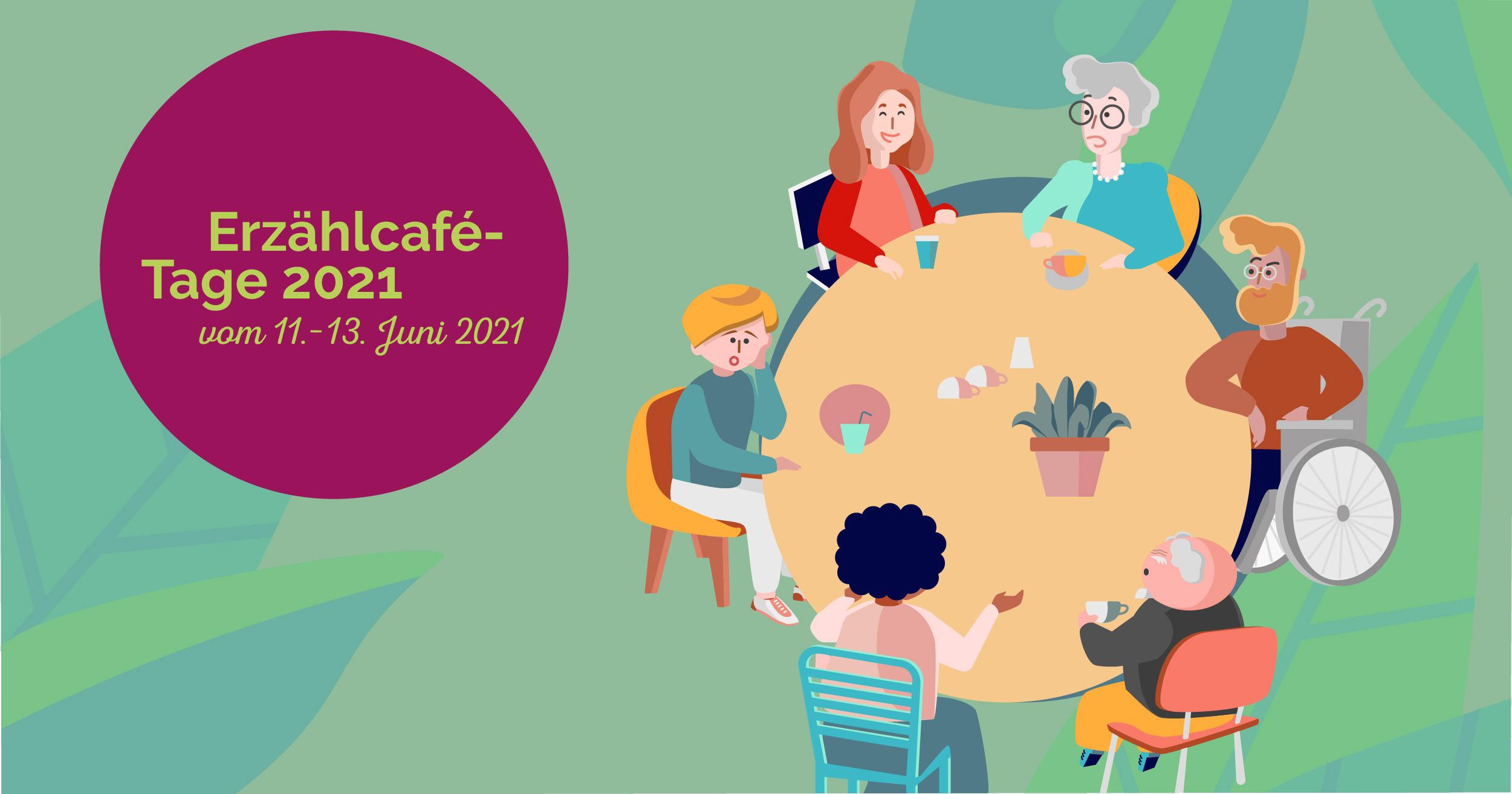 Ein gezeichnetes Bild von 6 unterschiedlichen Personen, die zusammen an einem runden Tisch sitzen und erzählen.