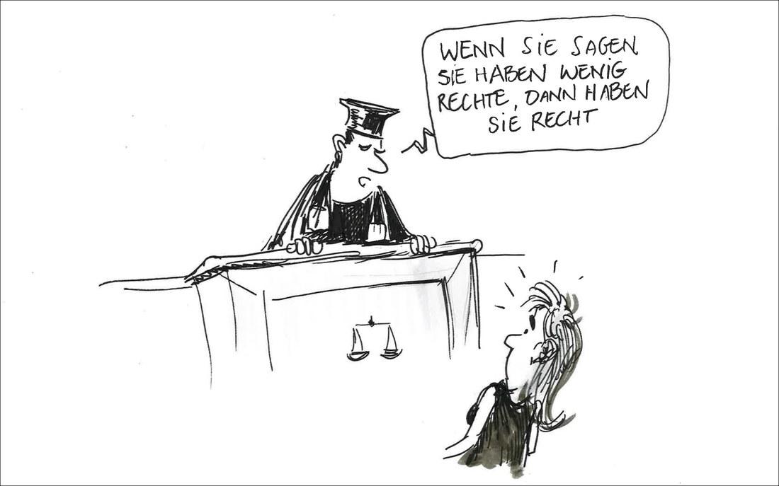 """Auf dem Cartoon spricht ein Richter zu einer Sexarbeiterin: """"Wenn Sie sagen, Sie haben wenig Rechte, dann haben Sie Recht."""""""