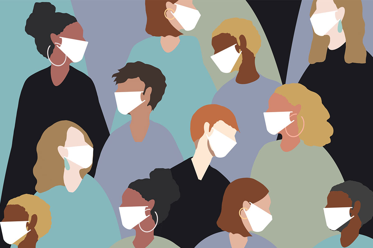 Grafische Darstellung von verschiedenen, durcheinanderlaufenden Menschen, die eine Schutzmaske tragen