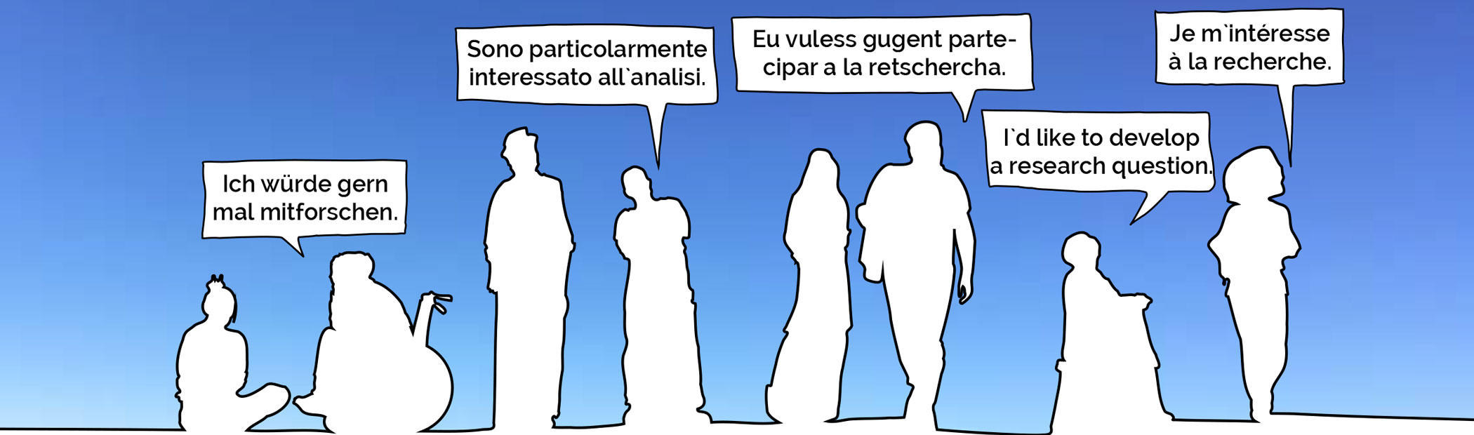 Zeichnung von verschiedenen Personen, die nebeneinander stehen und Sprechblasen haben in denen in verschiedenen Sprachen steht: Ich würde gern mal mitforschen.