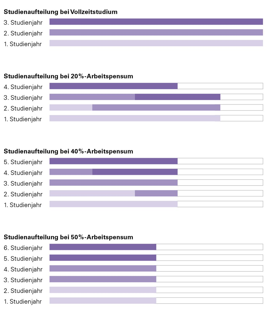 Die Tabelle zeigt exemplarisch die möglichen Studienabläufe.
