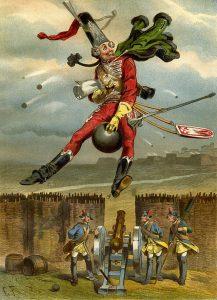 Münchhausens Ritt auf der Kanonenkugel. Zeichnung von Gottfried Franz.