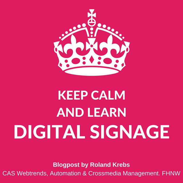 Digital Signage von Roland Krebs. Im CAS Webtrends, Automation und Crossmedia Management. Grafik: Prof. Dalla Vecchia